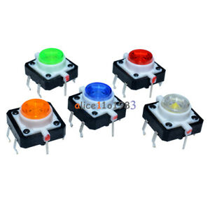 5pcs 12x12x7 3 Tactile Push Button Switch Momentary Tact Led 5 Color