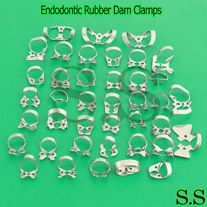 45 Endodontic Rubber Dam Clamps Dental Instruments Stainless Steel