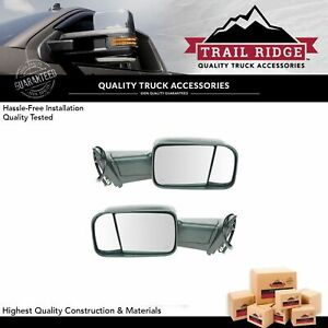 Trail Ridge Towing Mirror Power Folding Heated Signal Puddle Black Pair For Ram