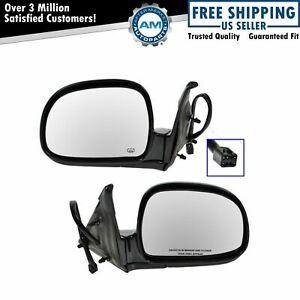 Black Power Heated Folding Side Mirrors Pair Set For 98 Chevy Gmc Pickup Truck