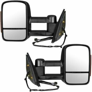 Trail Ridge Tow Mirror Power Heated Signal Textured Black Pair Set For Gm Pickup
