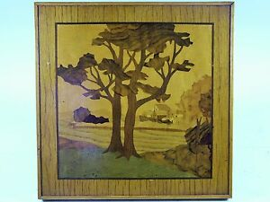 English Art Deco Marquetry Panel Attributed To Rowley Gallery C1925