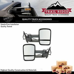 Trail Ridge Tow Mirror Power Heated Textured Black Pair Set For Silverado Sierra