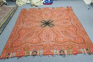 Antique European Jacquard Paisley Woven Wool Shawl Throw Tablecloth 74 Square