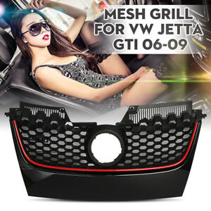 Front Bumper Honeycomb Hex Mesh Center Grille Red Trim For Vw Jetta Gti 06 09