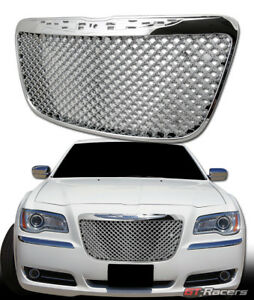 For 2011 2014 Chrysler 300 300c Chrome Luxury Mesh Front Bumper Grille Guard