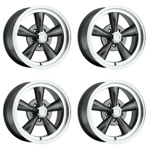 Set 4 Vision 141 Legend 5 Gunmetal Classic Wheels 15x7 5x4 75 7mm Chevy 5 Lug