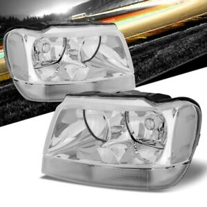 Chrome Housing Reflector Headlight Clear Side For Jeep 99 04 Grand Cherokee Wj