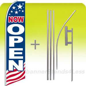 Now Open Swooper Flag 15 Kit Feather Flutter Tall Banner Sign Usa Bb