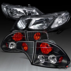 Fit 2006 2011 Honda Civic 4dr Sedan Jdm Black Headlights tail Brake Lamps Pair
