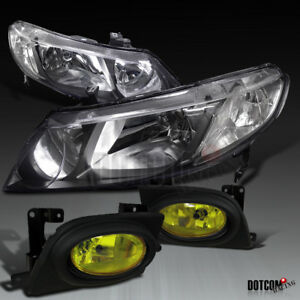 For 2006 2008 Honda Civic 4dr Sedan Clear Headlights amber Bumper Fog Lamps Pair