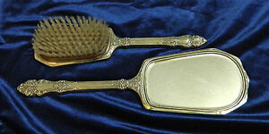 Vintage Saart Bros Sterling Silver Vanity Set Brush Mirror Set Marked