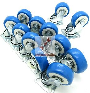 20pc 2 Swivel Caster Polyurethane Wheels Base Top Plate Double Ball Bearing