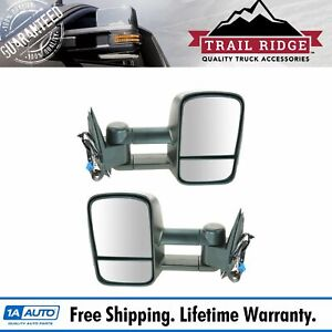 Trail Ridge Towing Mirror Power Heated Smoke Signal Pair For 03 07 Chevy Gmc New