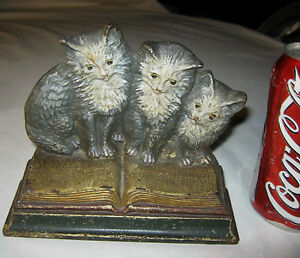 Antique B H Bradley Hubbard Usa Cast Iron Cat Statue Scupture Toy Book Doorstop