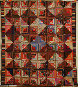 Museum Quality Vintage 1870 S Wool Challis Log Cabin Antique Quilt Tiny Pieces