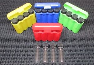 16 1 Dram Glass Vials With 4 Carrying Case Storage Case Green red blue yellow