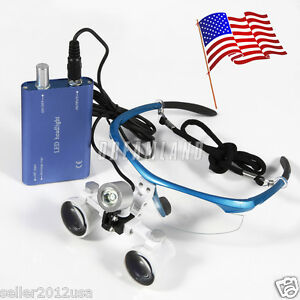Usa New Dental Surgical Binocular Loupes Glasses Lens 3 5x Led Head Light Blue