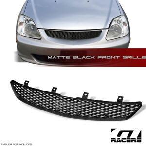 For 2002 2005 Honda Civic Si Ep3 Matte Blk Tr Mesh Front Hood Bumper Grille Abs