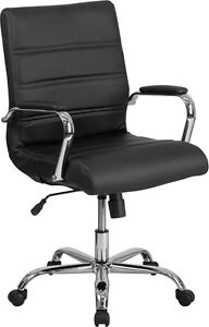 Mid back Black Leather Conference Room Swivel Chair With Chrome Arms