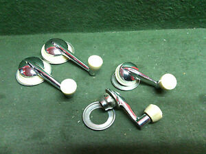 Vintage Window Handle Cranks Set Of 4 Chrome With Ivory Knobs Used Front