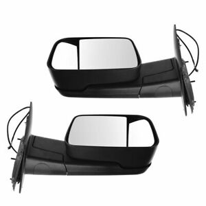 Flip Up Towing Mirror Heated Power Folding Upgrade Textured Black Pair For Ram