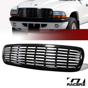 For 1997 2004 Dakota durango Gloss Black Horizontal Billet Front Bumper Grille