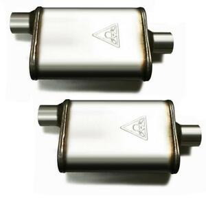 Pair Of Two 2 1 2 High Flow Dual Chamber Performace Mufflers 2 5 Offset center