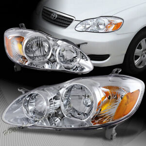 For 2003 2008 Toyota Corolla Chrome Housing W Amber Reflector Headlights Lamps