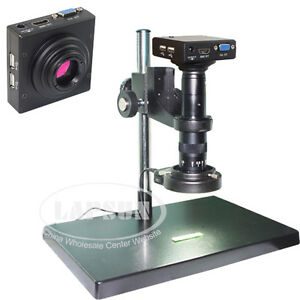180x Measuring 1080p Hdmi Vga Industrial Microscope Video Record Camera Lens Us