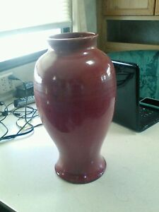 Awaji Arts And Crafts 14 25 Burgundy Vase As Is