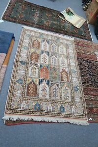 Vintage Hand Knotted Silk Keisari Turkish Multi Prayer Meditation Rug 3 X 4 4