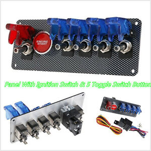 New 12v Car Offroad Panel Ignition Switch 4 Blue 1 Red Led Toggle Button Kit