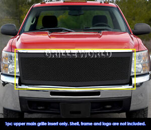 Fits 2007 2010 Chevy Silverado 2500 3500 Stainless Steel Black Mesh Grille
