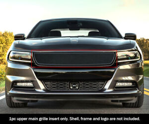 Fits 2015 2018 Dodge Charger 19 21sxt Main Upper Stainless Black Mesh Grille