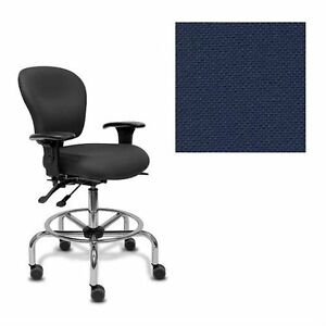 Office Master Classic Cls53 Ergonomic Lab Stool Kr 200m Armrests Fabric Navy