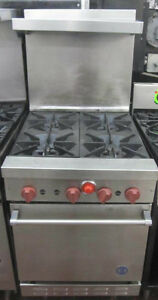 Us 4 Open Burner Range Stove Oven Riser Shelf Back Splash Commercial Stainless