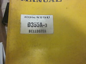 Komatsu D355a 3 Bulldozer Repair Shop Manual S n 3301