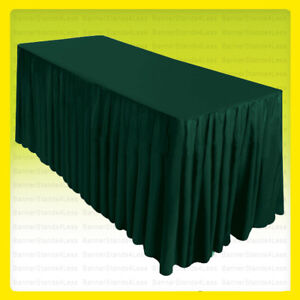 6 Fitted Table Skirt Cover Wedding Banquet W top Topper Tablecloth Hunter Green