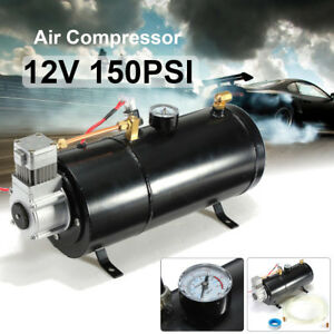 120 Psi 12v Air Compressor Tank Pump For Air Horn Bags Vehicle Us New