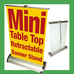 Retractable Banner Stand W Banner Printing Table Top 11 5x16 5 Mini A3 Custom