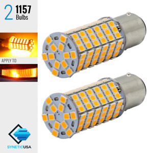 2x 1157 2057 2357 120 Smd Led Amber Yellow Front Turn Signal Parking Light Bulbs