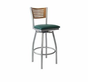 Commercial Grey Finish 5 Slats Swivel Metal Barstool Restaurant Furniture 582bss