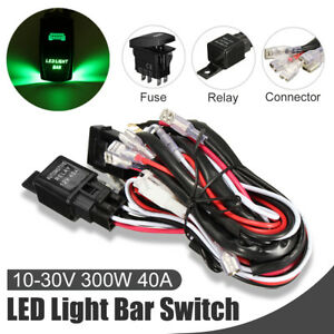 12v 40a 5 Pin Relay Fuse Wiring Harness Led Light Bar Laser Rocker Switch Green