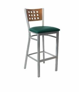 Commercial Grey Finish Lattice Back Metal Barstool Restaurant Furniture 591bs