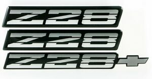 82 92 Camaro Z28 Tri Color Silver Rocker Bumper Emblem Set Of 3 New