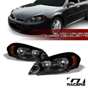 For 2006 2016 Chevy Impala monte Carlo Black Housing Headlights Lamps Amber Dy