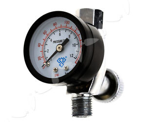1 4 Mini Spray Paint Gun Regulator Air Pressure Gauge Hvlp Compressor 150psi Us