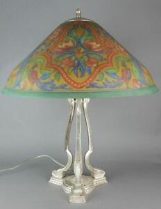 Circa 1915 Pairpoint Seville Reverse Painted Table Lamp Birds Of Paradise
