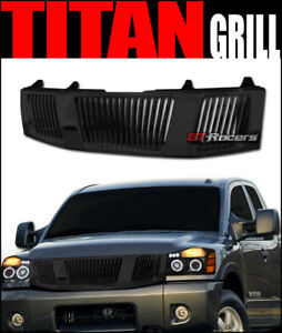 For 2004 2007 Nissan Titan Armada Black Vertical Front Hood Bumper Grill Grille